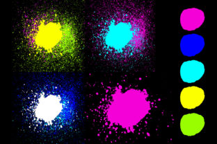 Neon Paint Splatter on Black Background Graphic Textures By colana
