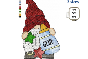 School Gnome with Glue Back to School Embroidery Design By LaceArtDesigns