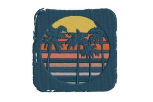 Vintage Retro Colored Striped Distressed Summer Embroidery Design By Embroidery Designs