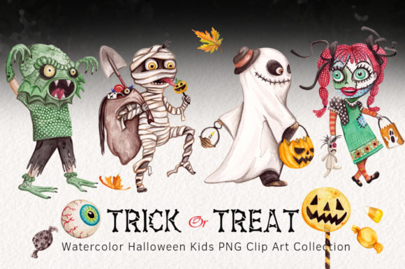 Watercolor Trick & Treating Kids Clipart
