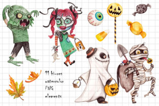 Watercolor Trick & Treating Kids Clipart - 2