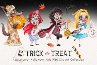 Watercolor Trick or Treating Kids Set Graphic Illustrations By Dapper Dudell