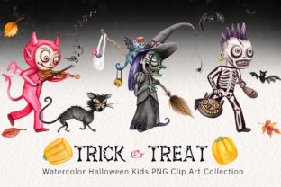 Watercolor Trick or Treating Kids Set Graphic Illustrations By Dapper Dudell 1