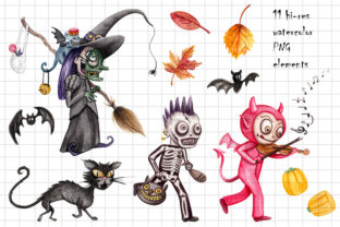 Watercolor Trick or Treating Kids Set Graphic Illustrations By Dapper Dudell 2