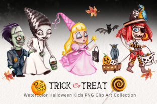 Watercolor Trick R Treating Children Set Graphic Illustrations By Dapper Dudell 1
