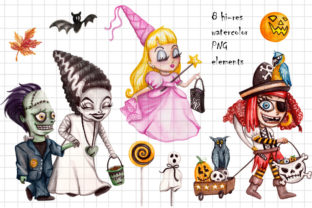 Watercolor Trick R Treating Children Set Graphic Illustrations By Dapper Dudell 2