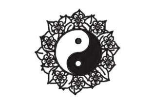 Yin and Yang Symbol Surrounded by Flowers Inspirational Embroidery Design By Embroidery Designs