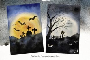 Print on Demand: Watercolor Background  for Halloween Graphic Backgrounds By aekgasit 2