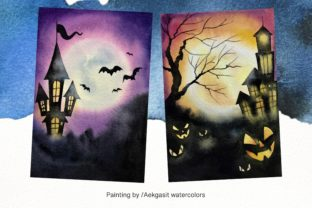 Print on Demand: Watercolor Background  for Halloween Graphic Backgrounds By aekgasit 3