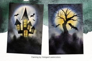 Print on Demand: Watercolor Background  for Halloween Graphic Backgrounds By aekgasit 4