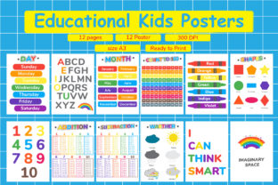 12 Set of Educational Kids Posters Graphic Teaching Materials By Kids Zone