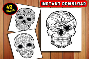 Print on Demand: 40 Sugar Skull Coloring Pages for Adults Bundle Graphic Coloring Pages & Books Adults By Dreamsky Publishing