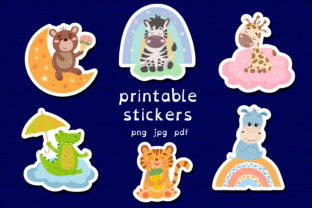 Print on Demand: Animals Stickers. Printable Stickers Graphic Illustrations By rinaletters