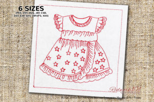 Beautiful Dress for Baby Girl Clothing Embroidery Design By Redwork101