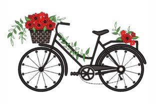 Bicycle with Flowers Summer Embroidery Design By LizaEmbroidery