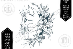 Cat with Flowers Cats Embroidery Design By CHICCAWORKSHOPSTORE