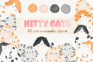 Cute Kitty Cats Watercolor Clipart Graphic Illustrations By amaydastore