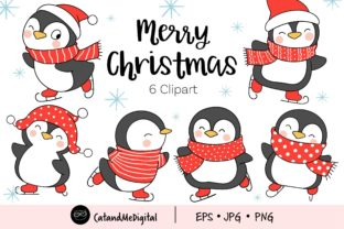Cute Penguin Christmas Clipart Graphic Illustrations By CatAndMe