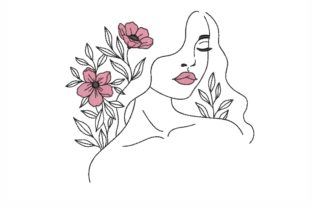 Floral Lady Beauty Stickdesign von LizaEmbroidery
