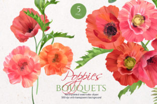 Print on Demand: Floral Poppies Bouquets Graphic Illustrations By Elena Dorosh Art
