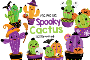 Print on Demand: Halloween Spooky Cactus Graphic Illustrations By DigitalPapers