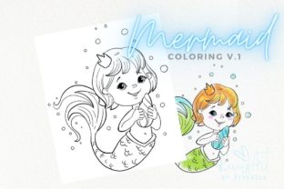 Mermaid Coloring Page. Mermaid Digital Graphic Coloring Pages & Books By CosyArtStore by RivusDea