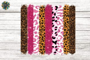 Pink Leopard Glitter Blue Sublimation Graphic Backgrounds By roddy style