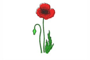 Poppy Single Flowers & Plants Embroidery Design By LizaEmbroidery