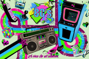 Totally 80's Arcade Action Clip Art Set Graphic Illustrations By Dapper Dudell 1