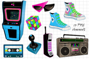 Totally 80's Arcade Action Clip Art Set Graphic Illustrations By Dapper Dudell 2