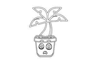 Tree Coconut Pot Kawaii Outline Graphic Icons By wtiger744