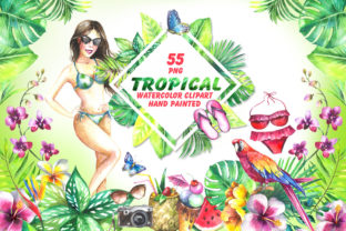 Tropical Watercolor Clipart Graphic Illustrations By rembrantd.ulya