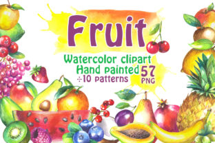 Watercolor Fruits Collection Graphic Illustrations By rembrantd.ulya