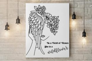 Wildflower Woman. Line Art Quotes SVG Graphic Illustrations By Lineartlovelytale