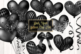 Print on Demand: Black Heart Balloon Clipart Graphic Illustrations By Digital Curio