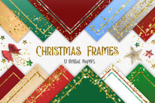 Print on Demand: Christmas Frames Glitter Digital Papers Graphic Backgrounds By PinkPearly