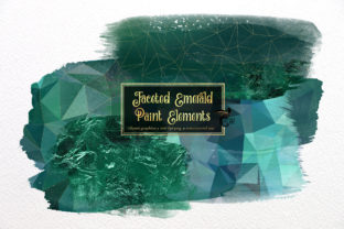 Print on Demand: Faceted Emerald Paint Elements Clip Art Graphic Illustrations By Digital Curio