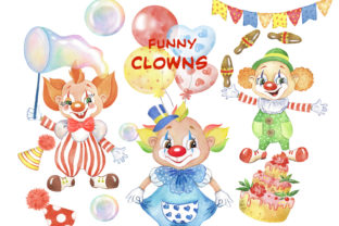 Funny Clowns Clipart. Children's Holiday Graphic Add-ons By EvArtPrint