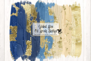 Print on Demand: Gilded Blue Oil Brush Strokes Clip Art Graphic Illustrations By Digital Curio