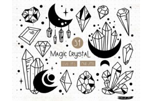 Magic Crystals and Mystic Moon SVG Set Graphic Illustrations By MySpaceGarden