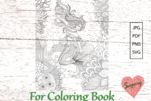 Mermaid Swimming Coloring Page Graphic Coloring Pages & Books Adults By somjaicindy