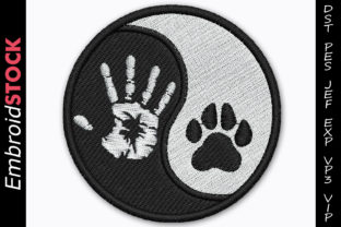 Yin Yang Dog Paw Dogs Embroidery Design By embroidstock