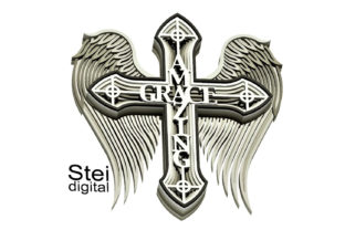 3d Winged Amazing Grace Cross SVG, DXF. Graphic 3D SVG By SteiDigital