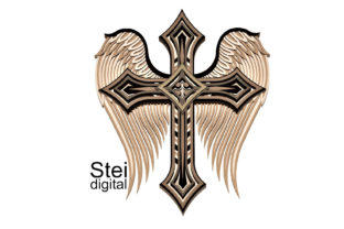 3d Layered Winged Cross SVG, DXF Files. Graphic 3D SVG By SteiDigital