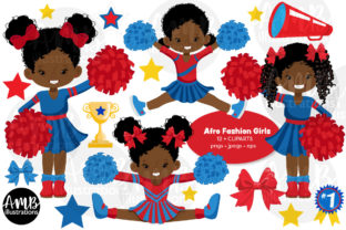 AFRICAN AMERICAN CHEERLEADERS CLIPART Graphic Illustrations By AMBillustrations