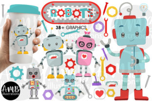 Cute Little Robots Clipart Pack AMB-2985 Graphic Illustrations By AMBillustrations
