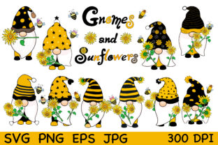 Gnomes and Sunflowers Graphic Illustrations By auauaek4
