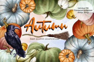 Hello Autumn Clipart, Leaves and Pumpkins Graphic Illustrations By Arte de Catrin