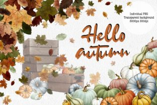 Hello Autumn Clipart, Leaves and Pumpkins Graphic Illustrations By Arte de Catrin 2