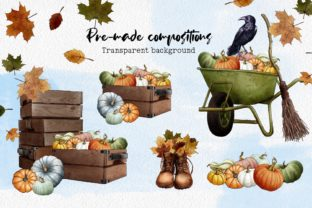 Hello Autumn Clipart, Leaves and Pumpkins Graphic Illustrations By Arte de Catrin 3